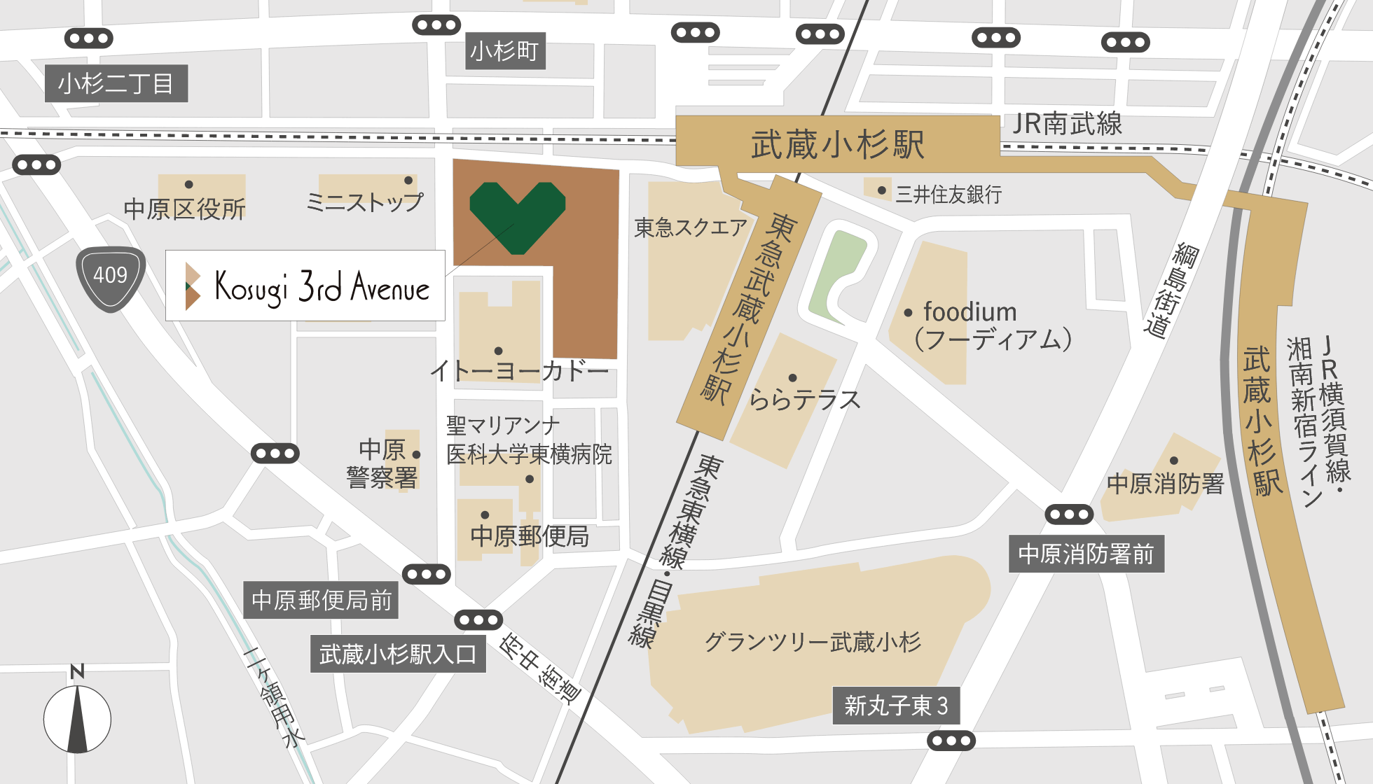 JR線「武蔵小杉」駅徒歩1分、東急東横線・目黒線「武蔵小杉」駅徒歩2分
