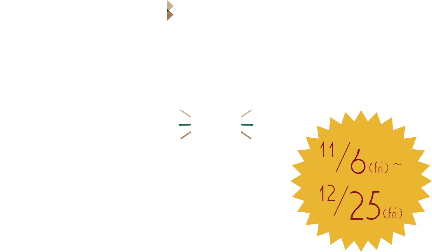 smiling 7 weeks 11/6(fri)〜12/25(fri) 12/10(thu) GRAND OPEN DAY
